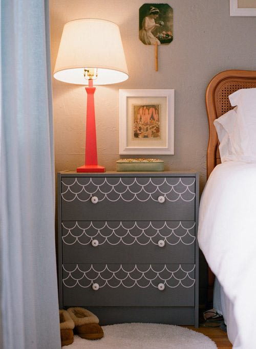 DIY dresser ideas, Ikea hack, new knobs, painted Dior grey with white scallops