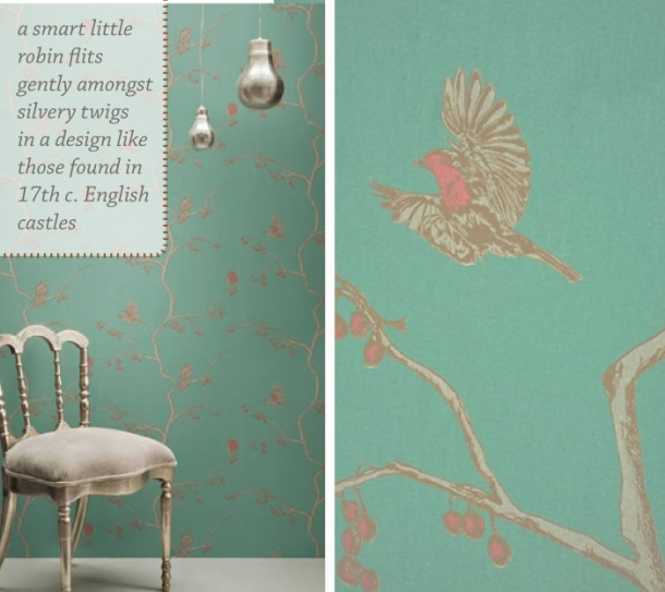 English Robin 01 wallpaper by Barneby Gates featured on the Unexpected Chic