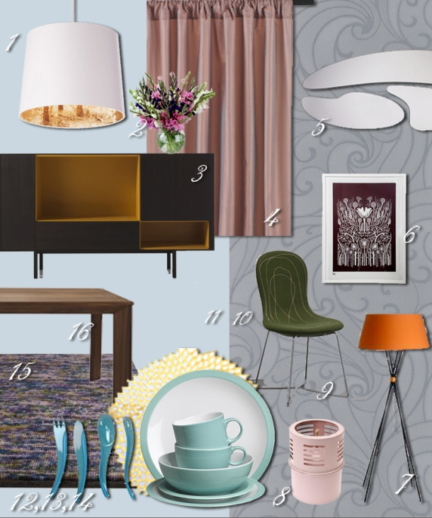 Mood board for dining area based on 'dusky and exotic' palette, on The Unexpected Chic