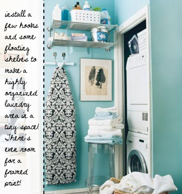 Laundry nook storage ideas on The Unexpected Chic