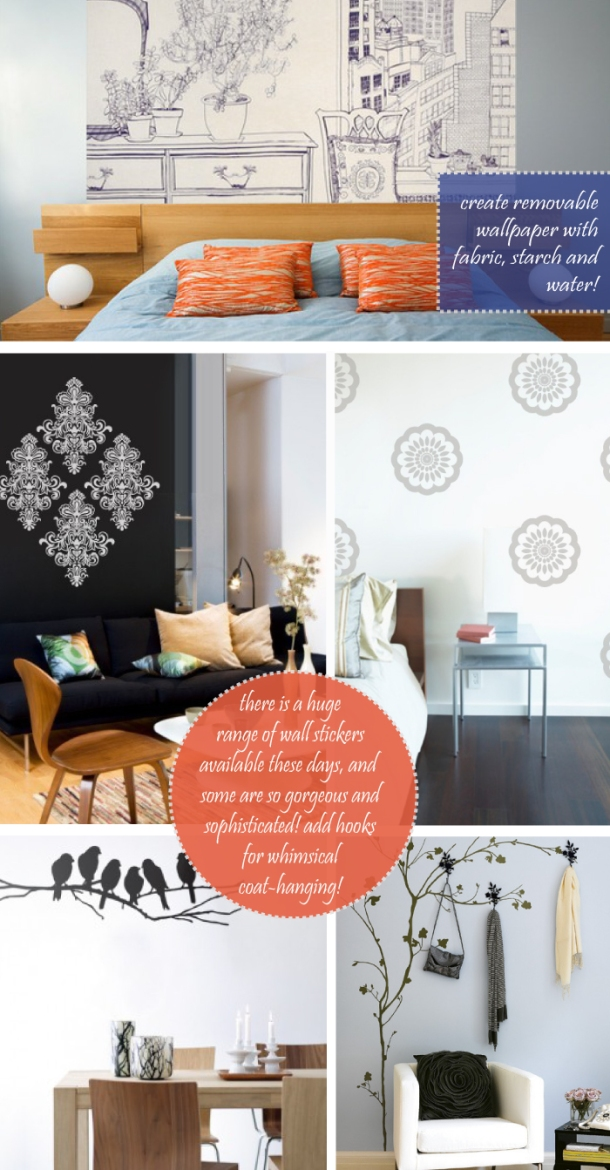Temporary wallcovering ideas from The Unexpected Chic