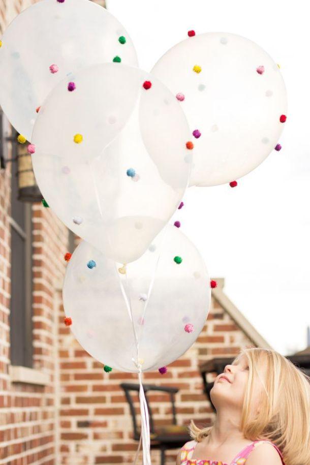 wedding decor pom pom balloons